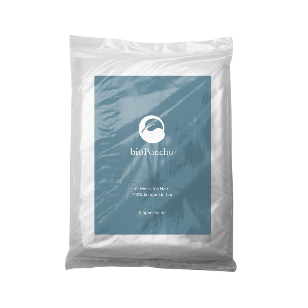 Verpackung bioPoncho bedruckt mit Einlegekarte